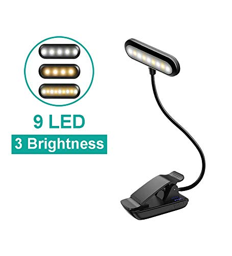 Spmywin Book Light for Reading in Bed, Rechargeable Reading Light with 9 LEDs, Eye Protection Book Reading Light with Clip for Kids, Bookworm, Traveler (Black)