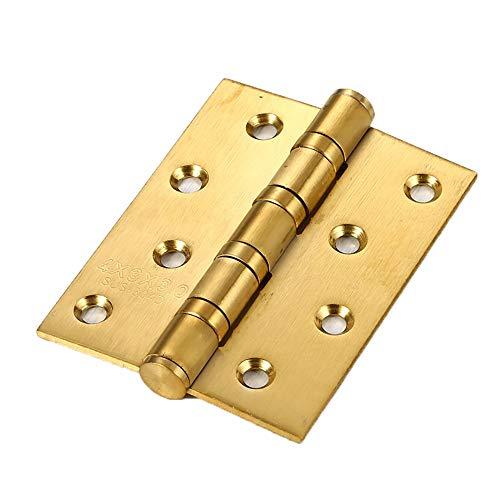 JTRHD Bisagras a Tope Plegables 4 Piezas de 4x3 Pulgadas Pesado Herraje de Muebles bisagras de Puerta con 32 Piezas de Tornillos para Ventana, gabinetes, Armario (Color : Gold, Size : 4 Pack)