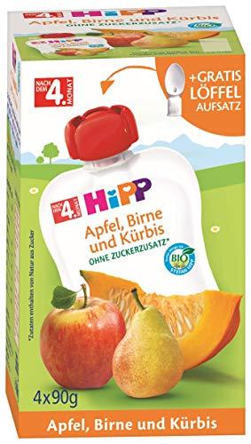 HiPP Bio Frucht & Gemüse im Quetschbeutel für Baby Apfel, Birne und Kürbis, 4er Pack (4 x 90 g)