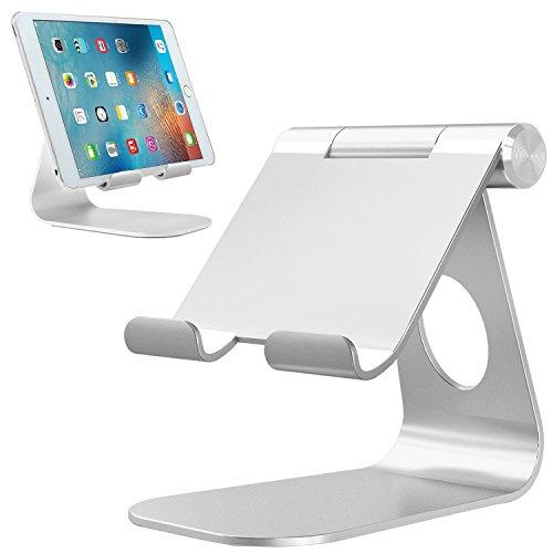 """Bovon Supporto per iPad, Supporto Telefono e Tablet da 4"""" a 13"""", Supporto Tavolo Regolabile in Alluminio per Smartphones iPad PRO 9.7 10.5 11 12.9, iPad Air, iPad Mini,Samsung Tabs, Huawei (Argento)"""