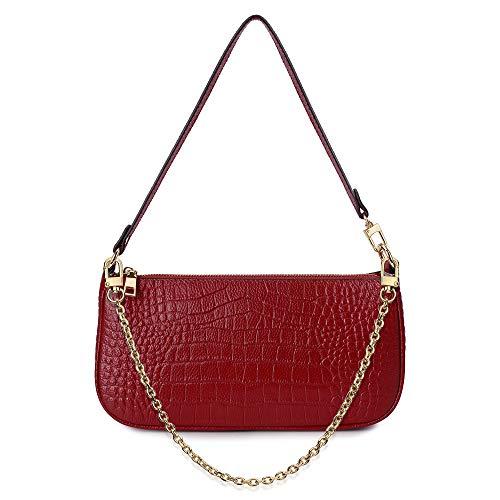 Yaluxe Clutch Shoulder Tote Crocodile Genuine Leather Croc Retro Purse Handbag Zipper Closure for Women Classic