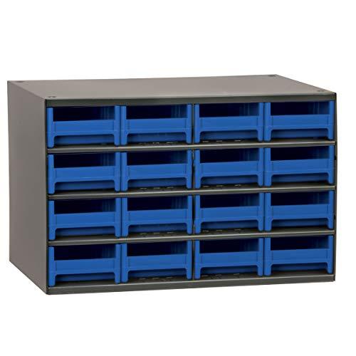 Akro-Mils 16-Drawer Steel Parts Craft Storage Cabinet Hardware Organizer, 19416, (17-Inch W x 11-Inch D x 11-Inch H), Gray Cabinet, Blue Drawers