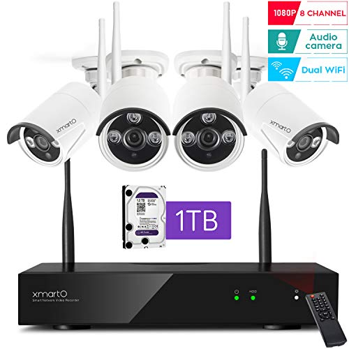 [2020 Dual WiFi 8-CAM 1080p] xmartO 8-Camera WiFi Security Camera System Wireless with 4X 1080P WiFi IP Cameras for Home and Business Surveillance (Dual WiFi Routers in NVR,100ft IR, 1TB HDD)