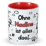 Sheepworld Tasse »Ohne … ist Alles doof.« mit Wunschnamen, personalisiert (rot)