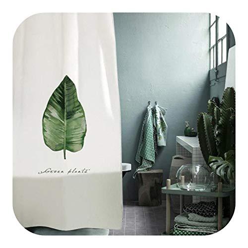leaf-only Fenster Bad Vorhang, Neue Blätter Gedruckt Duschvorhang Wasserdicht Polyester WC Trennwand Vorhang Bad Vorhang Mit Haken Home Decor-2-B180xH180cm