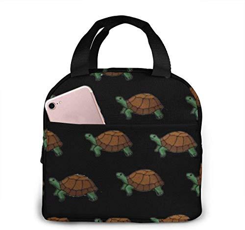 Bolsa de almuerzo con aislamiento de dibujos animados de tortuga con bolsillo frontal para mujer, hombre, trabajo, picnic o viaje