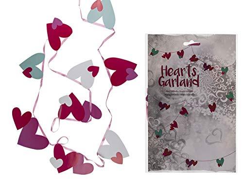 jameitop® ❤️ 4 Stück Herz Girlande je 3 Meter = 12 Meter Herzgirlande insgesamt - Hochzeits Deko Set ❤️