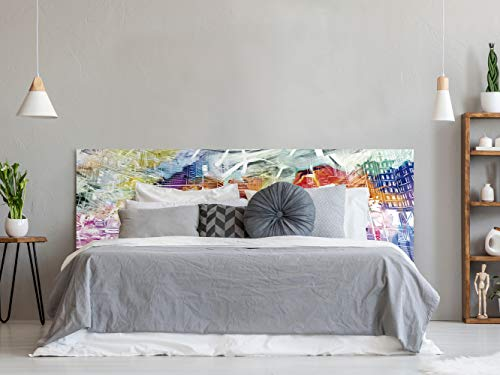Cabecero Cama PVC Impresión Digital | Ciudad Colorida 150 x 60 cm | Cabecero Original y Económico