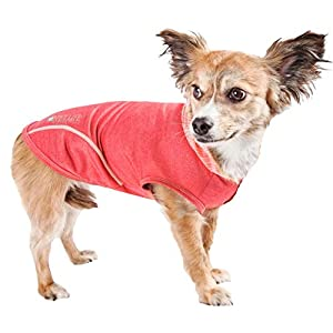 Pet Life Active 'Pull-Rover' Premium 4-Way Stretch Two-Toned Performance Sleeveless Dog T-Shirt Tank Top Hoodie, Large, Red