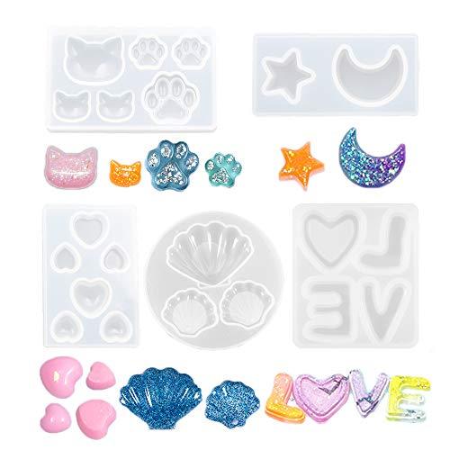 Nifocc - Juego de 5 moldes de silicona para joyas y manualidades,...