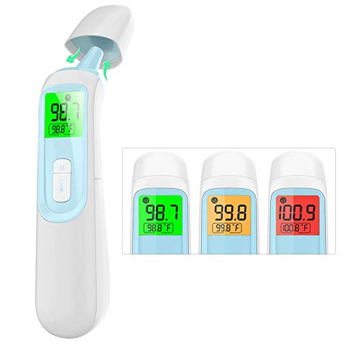 Forehead Thermometer, No Touch Infrared Digital Ear Thermometer with Fever Alarm and Memory Function