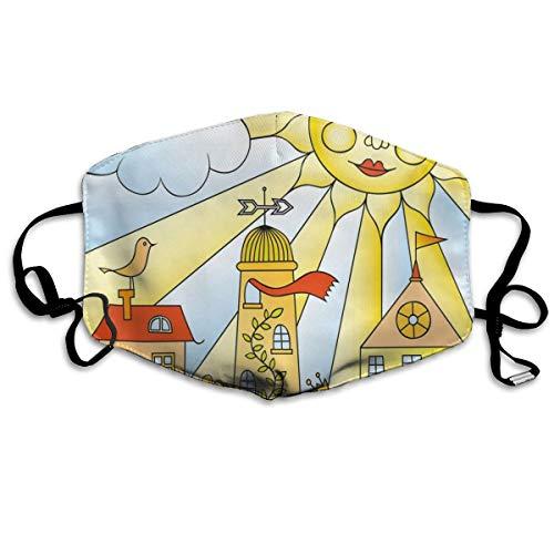 Kinderlijke Tekening Van Stad Onder Lachende Zon Cartoon Huizen Tuin Cloud NurseryPrinting Veiligheid Mond Cover voor Volwassen