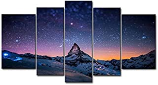 5 Piece Wall Art Painting Starry Night Sky Over The Mountains Prints On Canvas The..
