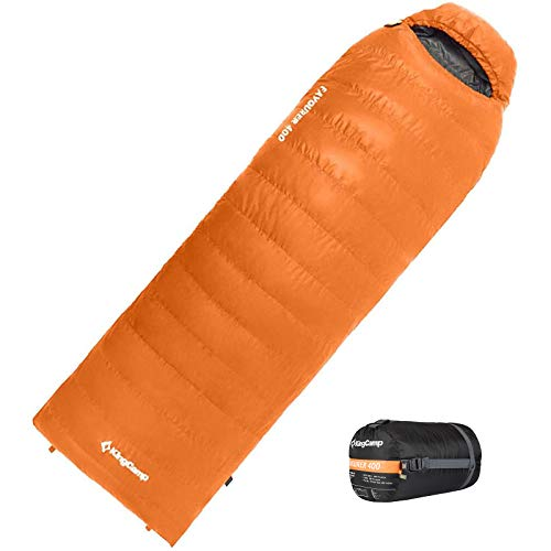 KingCamp Lightweight Warm Envelope Down Sleeping Bag, Waterproof Sleeping Bags for Winter, Compact Sack for Camping, Hiking, Backpacking (-12°C / 10.4°F Limited Use)