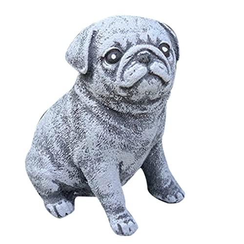 Aoten Figura decorativa de perro de resina para decoración de jardín