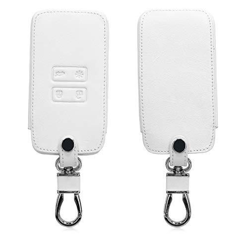 kwmobile Autoschlüssel Hülle kompatibel mit Renault - Kunstleder Schutzhülle Schlüsselhülle Cover kompatibel mit Renault 4-Tasten Smartkey Autoschlüssel (nur Keyless Go) - Weiß