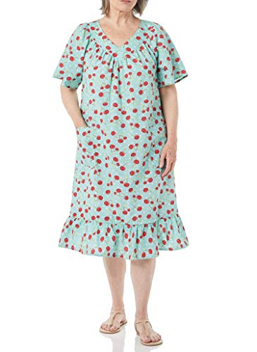 AmeriMark Women's Casual Print Sun Dress - House Dress with Front Patch Pockets Cherries MD
