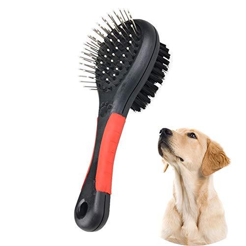 WEIJ Dubbel Zijdelings Pet Grooming Borstel - 2 in 1 Pin & Bristle Zachte Borstel - Dagelijks Gebruik om Losse Bont Vuil schoon te maken, M, Zwart Rood