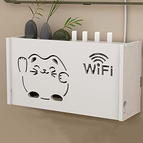 Estante para decodificador, caja de almacenamiento WiFi montada en la pared, caja oculta con cable, sala de estar, gabinete de TV, estante de pared, caja de almacenamiento para enrutador/B / 3