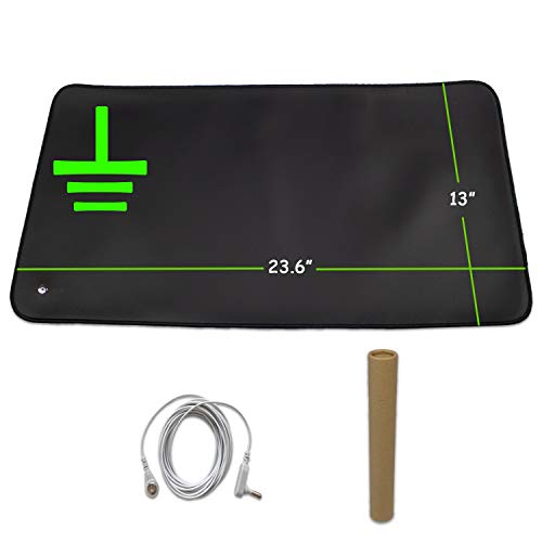 CONDUCTIVE Brand Grounding Mat Earthing Pad Kit with Grounded Cord, 23.6'x 13' Inch Earth Therapy Benefits, EMF Protection, Use for Universal Ground Foot Mats, Computer Mat, Sleep Mat, Pet Mat