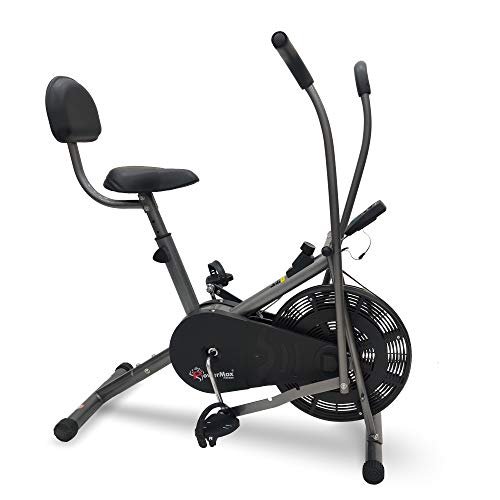 PowerMax Fitness BU-201 Dual Action Air Bike/Exercise Bike with Back Support System for Home Workout, black