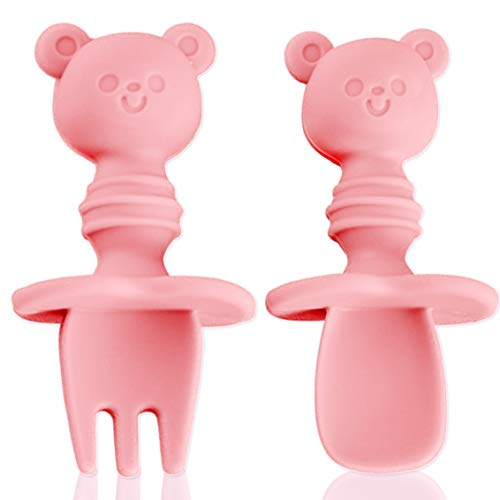 Baby Fork and Spoon Set, Silicone Self Feeding Utensil Easy Grip Toddler Cutlery Kit with Carry Case BPA-Free Anti-Choke for Infant Toddler Children First Led Training Weaning, 6-12 Month (Pink)