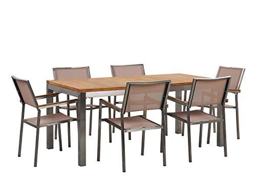 Beliani Conjunto de jardín Mesa con Tablero de Madera de Teca 180x90, 6 sillas Beige GROSSETO