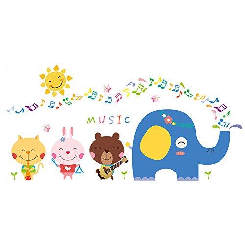 Winhappyhome Cute Animals Elephant Music Art Muraux Stickers pour Chambre à Coucher Salon TV Backdrop Glass Window Door Décalcomanies Décor Amovibles
