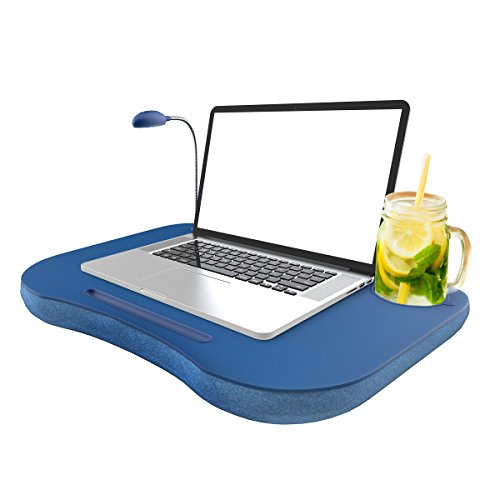 Laptop Lap Desk, Portable with Foam Filled Fleece Cushion, LED Desk...