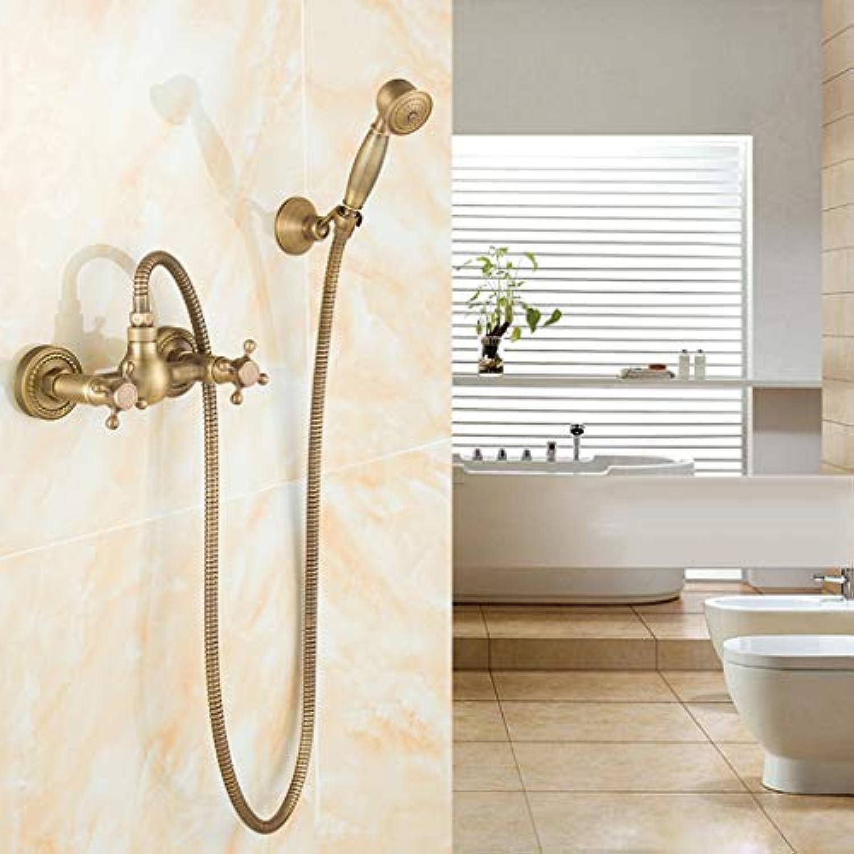 Faucet Wall Mounted Shower Set, Solid Brass Kitchen Mixer Tap Inspirot Bathroom Sink Tap, Antique Brass Finish, geeignet für Becken, Küche, Bad, Mop Pool,B