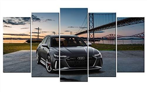 Leinwand-Bild auf Leinwand Auto Audi RS6 A6 RS Wandbild Automobil Bilder Dekoration Kunstdruck 150cm x 80cm
