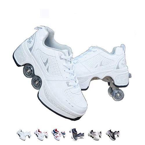 FGERTQW Multifunktionale Deformation Schuhe Quad Skate Rollschuhe Skating Outdoor Sportschuhe Für Erwachsene,White-37
