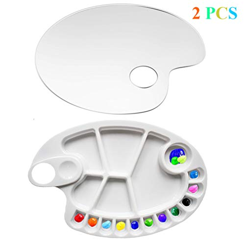 STKYGOOD 2 PCS Non-Stick Paint Palette Artist Paint Mixing Tray 17 Holes Palette Oval Shaped Easy Clean (2Pcs)