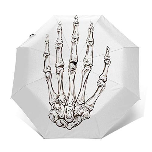 Paraguas Plegable Automático Impermeable Tatuaje Esqueleto Anatomía Médica, Paraguas De Viaje Compacto a Prueba De Viento, Folding Umbrella, Dosel Reforzado, Mango Ergonómico