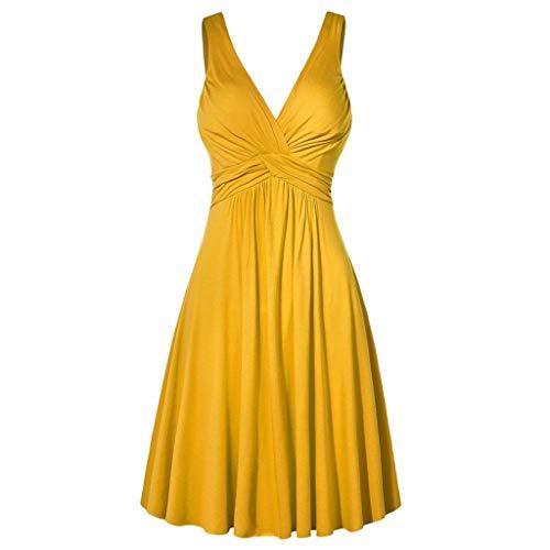 Reooly Vestido de Noche con Cuello en V XL Falda Acampanada Plisada Falda Acampanada Plisada Mujer Vestido de Color sólido Vestido de Novia Elegante