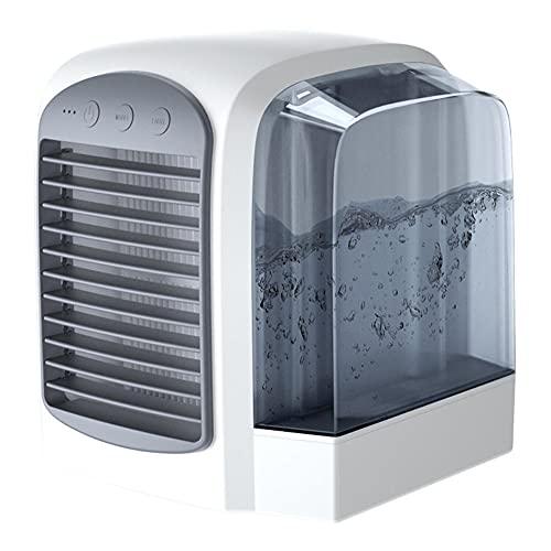 Ventilador de refrigeración por aire 3 en 1 Mini aire acondicionado de escritorio USB Refrigeración por agua Ventilador de modo de 3 velocidades Humidificador Purificador Verano-Gris