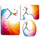 Not Applicable Colorful Sporty Man Badminton Sport Recreation Motion Abstract Geometric Triangle Training Low 3pc Antidérapant Bath Rug Set U-Shaped Contour Rug, Mat and Toilet Lid Cover New