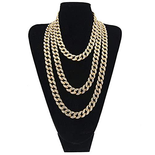 AMOZ Hip Hop - Collar de Cadena de Eslabones Helados de 15 Mm para Hombre, Gargantilla de Eslabones Cubanos de Diamantes de Imitación Aaa para Collar de Cadenas de Oro para Hombre, Regalo de Navidad