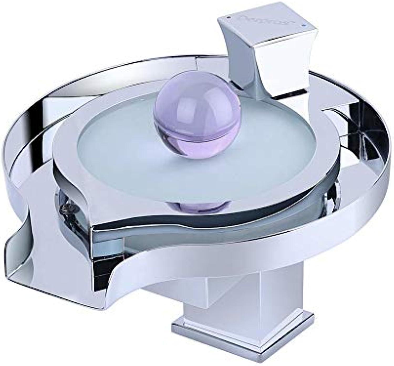 HUIJIN1 LED-Badezimmer-Wasserhahn, Wasserfall weit verbreiteten Badezimmer-Wasserhahn, EIN Griff EIN Loch Wasserfall Auspuff, Farbwechsel auf der Grundlage der Wassertemperatur