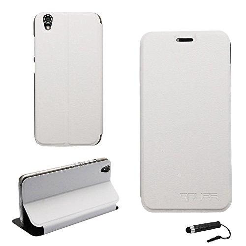 Ycloud Tasche für UMIDIGI Diamond/UMIDIGI Diamond X Hülle, PU Ledertasche Metal Smartphone Flip Cover Hülle Handyhülle mit Stand Function Weiß