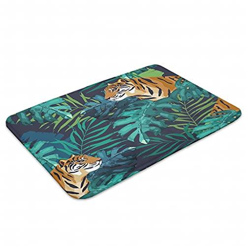 OwlOwlfan Tropical Tiger - Felpudo antideslizante para puerta delantera y trasera, baño, 45,7 x 61,7 cm