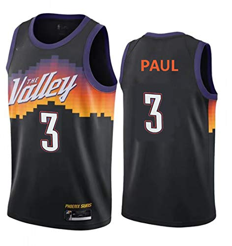 Jerseys de baloncesto para adultos, soles No. 3 Paul y No. 1 Booker Swingman Basketball Jerseys Niños Sin mangas Baloncesto Jersey NO.3-L