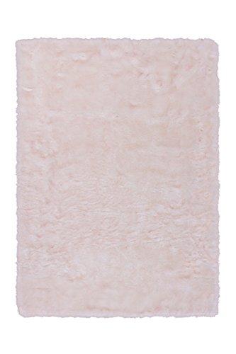 KADIMA DESIGN Teppich Crown 110 Weiß/Puderrosa 160cm x 230cm Handgetuftet; hochwertig verarbeitetes Tierfellimitat mit Flauschiger Haptik