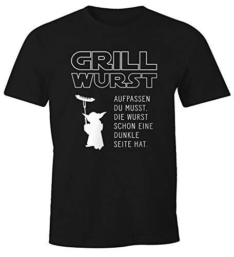MoonWorks® Herren T-Shirt Grill Wurst Aufpassen du musst, die Wurst Schon eine dunkle Seite hat Fun-Shirt Barbecue BBQ Nerd schwarz XXL