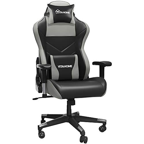 YITAHOME Massage Gaming Chair Big and Tall 350lbs Heavy Duty Ergonomic Video Game Chair High Back Office Computer Chair Racing Style with Headrest and Lumbar Support,Black