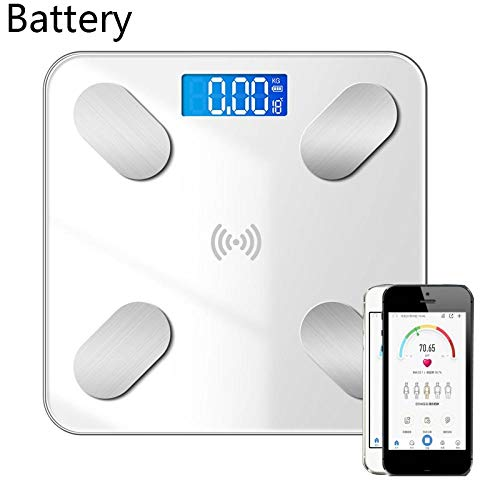 Body Weight Scale Maximum 400 Lbs Thinnest about 0.8-inch Roffie Digital Smart Body Fat Scale with Smartphone App Composition Analyzer for Home Bathroom Black High-Precision BMI Health Monitor