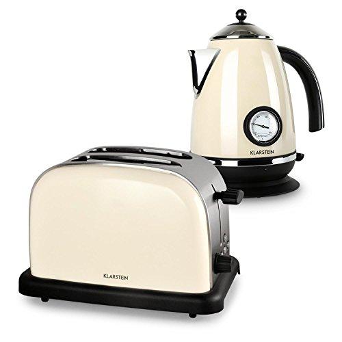 Klarstein Aquavita Retro Frühstücksset Wasserkocher + Toaster (Wasserkocher mit 1,7 Liter, 2200 Watt, 2-Scheiben-Toaster 1000 Watt, Auftau- und Aufwärm-Funktion, Edelstahl) creme