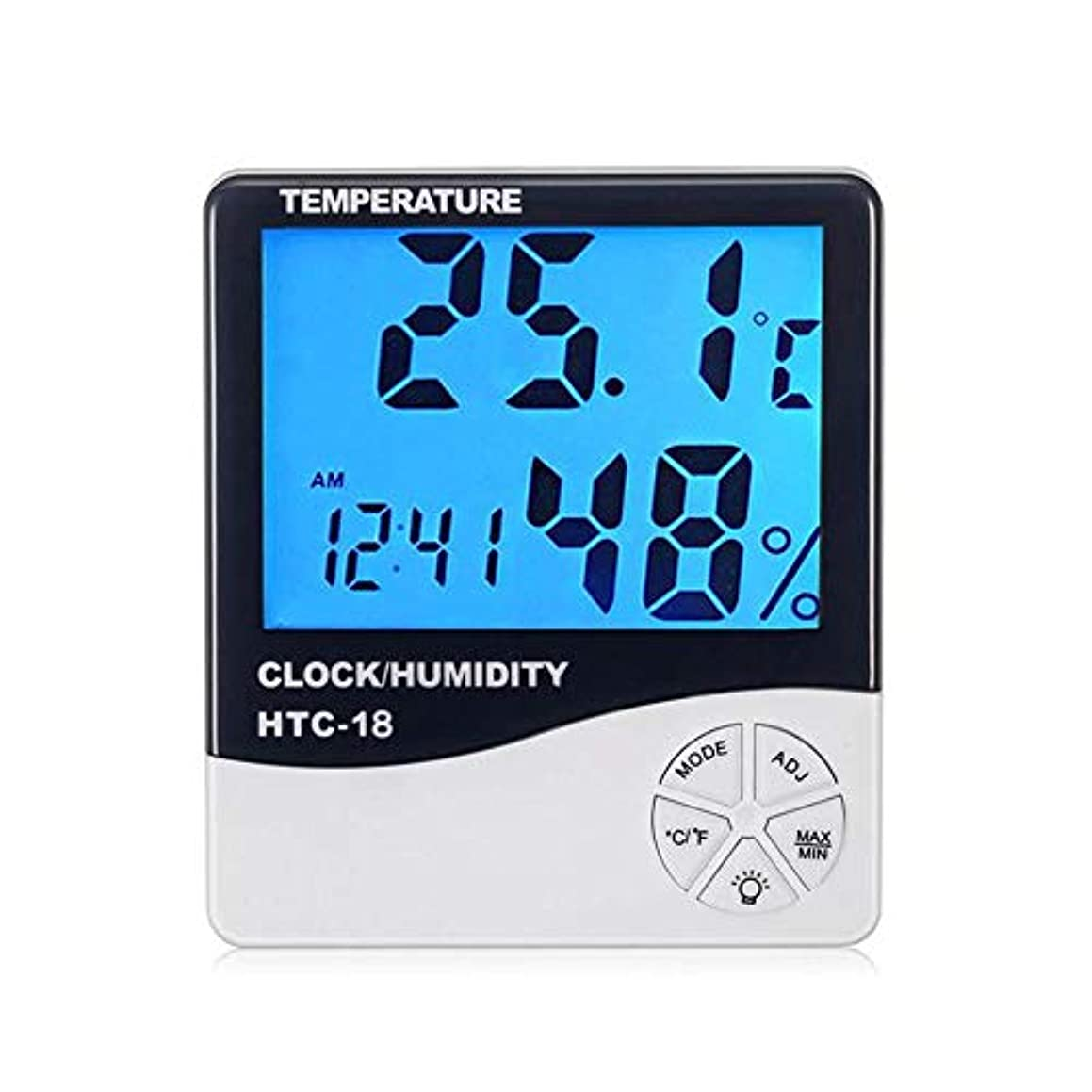 Umiwe Room Digital Thermometer, HTC-18 Accurate Hygrometer Humidity Thermometer Monitor Meter Digital Alarm Clock with LCD Screen for Room Home Office