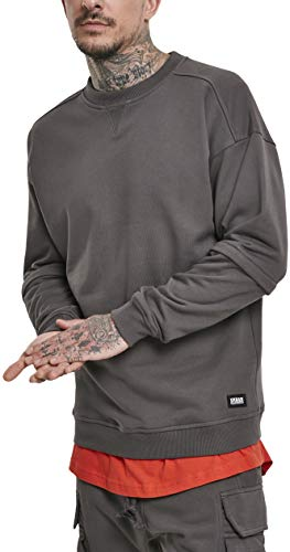 Urban Classics Heren Trui Sweatshirt Zip Away Oversized Terry Crew Pullover