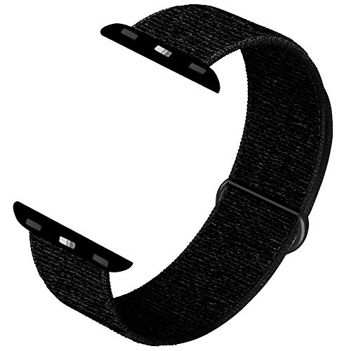 INTENY Sport Band Compatible with Apple Watch 42mm 44mm, Soft Sport Loop, Strap Replacement for iWatch Series 5, Series 4, Series 3, Series 2, Series 1 (Dark Black, 42mm 44mm)